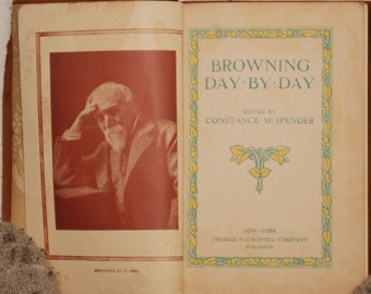Antique ornate 1904 Browning Day By Day Constance M. Spencer Thomas Y. Crowell Company boho journal gold leaf aged leather suede mini book