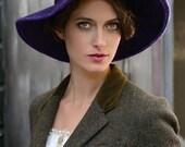 Wide Brim Lauren Bacall - purple felt hat