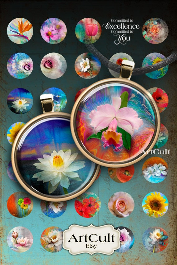 1 inch (25mm) circle images EDEN FLOWERS Printable Download Digital Collage Shee for glass and resin pendants bezel trays cabochon settings