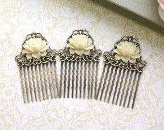 Set of Three, 3 Vintage Style Ivory Rose Small Rose Flower Art Nouveau Antiqued Bronze Small Filigree Hair Comb. Bridesmaids Gifts.