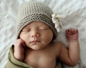 Knitting Pattern Baby Hat with flower AMELIA Instant Download