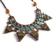 Triangle Bib Necklace, Micro Mosaic,  Tribal Statement Necklace, Green, Topaz, Beaded, Boho, Bohemian, Beadwork