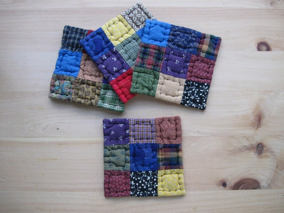 Quilted Coasters Fabric Coasters Rustic Decor Primitives Country Decor Farmhouse Decor Kitchen Housewares