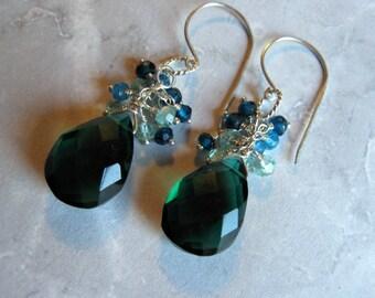 Quartz Cluster Earrings- Silver, Apatite, Peacock Green Quartz