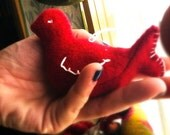 Red Holiday Birds, Upcycled Cashmere, Hand Crafted with Traditional Techniques