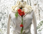 Reserved for Lisa. Corset style Sweater/Coat accented with felted flowers. Size Small.