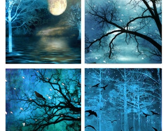 Nature Photography, Surreal Blue Nature, Moon Ravens Stars Trees, Sparkling Fairy Lights Blue Nature, Set of 4 Fairytale Fantasy Blue Prints