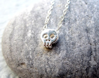 Tiny Skull Necklace Sterling Silver Necklace Day of the Dead