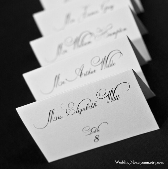 Custom calligraphy style wedding place cards by