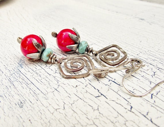 Sterling Silver Dangle Earrings with Coral and Turquoise