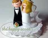 CUSTOM Wedding Cake Topper Bride and Groom Figurine Couple to Look Like You. Handmade by The Happy Acorn