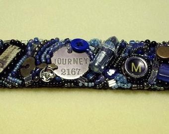 Steampunk Beaded Cuff Bracelet Journey--SALE