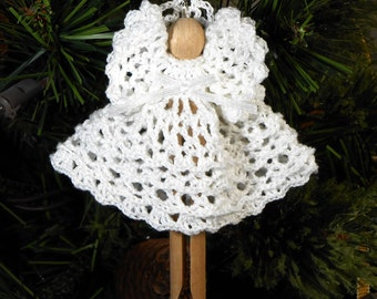Crocheted Angel Holiday Christmas Tree Ornament - Goldie in White - Free U.S. Shipping