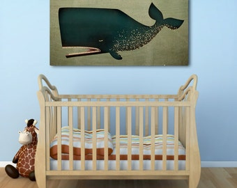BARNACLE WHALE Graphic Illustration Gallery Wrapped Pigment on CANVAS