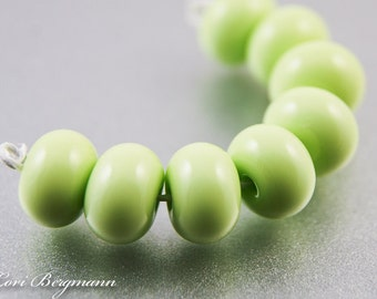Key Lime Green Glass Spacer Beads, SRA Handmade Lampwork