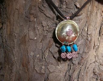 Boho kinetic round boho pendant casual pendant copper spiral tri trio pendant moving beads turquoise blue mint sleeping beauty