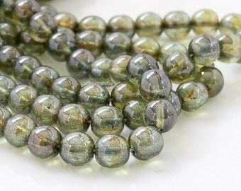 Luster Green Lumi. Czech Glass Beads, 8mm 20 Round Druk