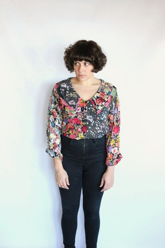 SALE Vintage 90s Floral Boho Gypsy Blouse with Double Sailor Collar // Sheer Top