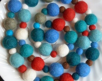 Nautical Nomad Felt Ball Garland  - felt ball garland of blues and red - 8 ft long - nautical felt ball garland
