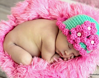 Baby Hat CROCHET PATTERN Beginner Beanie Cap Pretty Petal in 5 sizes 0-10 years