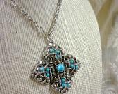 "signed ""Avon"" faux turquoise pendant necklace"
