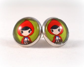 Cute Earrings Little Red Riding Hood Jewelry Fairytale Jewelry for Teens and Tweens Red and Green Fairy Tale Jewelry Gifts for Tween Girls