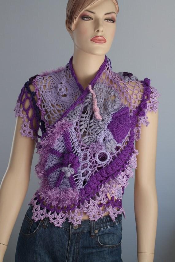 Lilac Violet  Freeform Crochet  Scarf Shawl / Wearable Art / OOAK