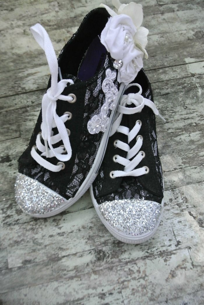 Glitter Lace Tennis Shoes Gypsy Cowgirl Glam Womens Shoes