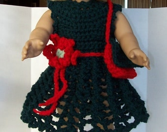 For 18 inch dolls: five-piece crochet set green and red--dress, bag, shoes, and hat--Great Christmas Outfit