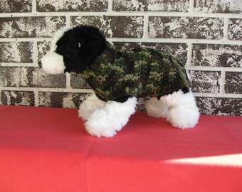 Dog sweater in camoflage, med dog sweater, large dog sweater, camo dog sweater, crochet dog sweater.