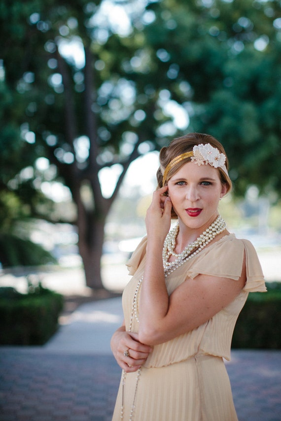 SALE - The Daisy - Lace and Gold Beaded Tie Headband