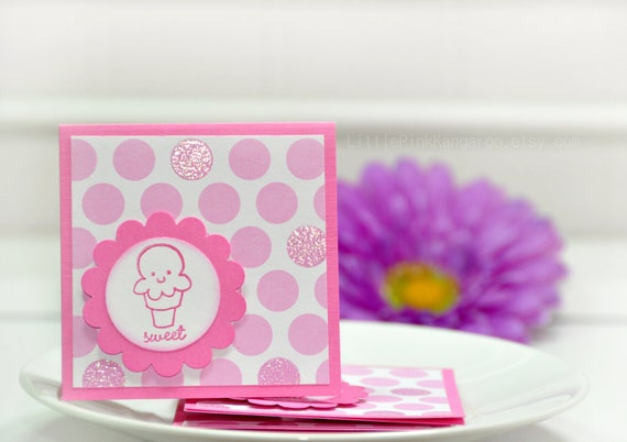 Pink and White large Embossed  Polka Dot  Sweet Ice Cream -  Mini cards  Thank You Cards ( Set of 4)