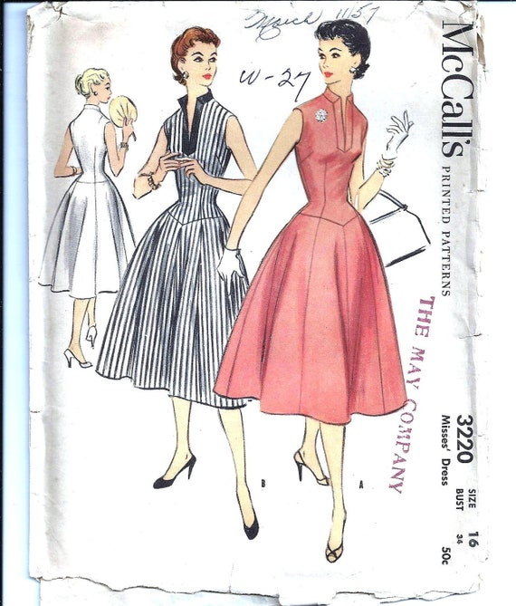 McCall's 3220 Womens 1950s Day Dress Pattern - 34 Bust - Vintage Sewing Pattern