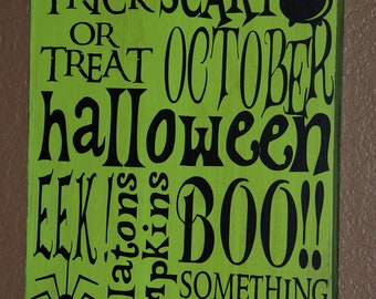 Halloween Subway Art Wood Sign ~ Halloween Party ~ Witch's Brew ~Witches Brew ~Boo Sign ~Trick Or Treat ~Halloween Decor ~Halloween Wall Art