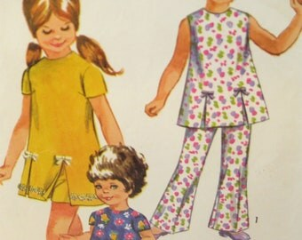 Simplicity 8717 Girls Play Dress, Shorts and Pants Vintage Sewing Pattern