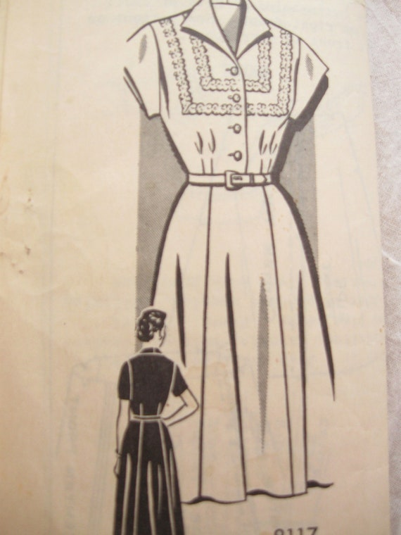 Sew Rite 8117 Mail Order 1940s Dress Vintage Sewing Pattern Bust 36