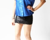 ll S A L E ll vintage 1970s blouse / 70s electric blue blouse / Dakota Collar Blouse