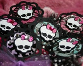 Monster High Cupcake Toppers Birthday Party Decorations Picks -- Monster High -- Goth -- Skull -- Halloween -- Skullete -- Frankie Stein