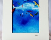 Matted and ready to frame - Unique 3D fine art photograph - Soaring birds