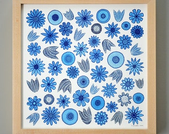 Blue Flowers Illustration