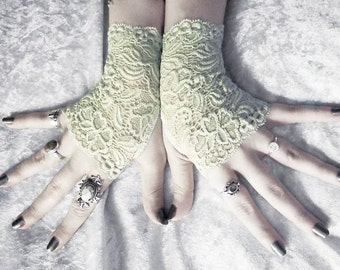 Willow Lace Fingerless Glove Mittens - Pale Sage Green Floral - Wedding Pastel Goth Bridesmaid Victorian Fetish Belly Dance Bohemian Bridal