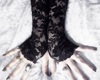 Hathor Long Lace Fingerless Gloves | Black Floral Scroll | Gothic Vampire Wedding Fetish Dark Tribal Bellydance Burlesque Goth Bridal Mori