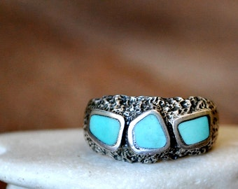 Abstract Sterling Silver Turquoise Ring Size 9