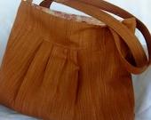 Large  Pleated Shoulder Bag /Diaper Bag Pleated in Cinnamon