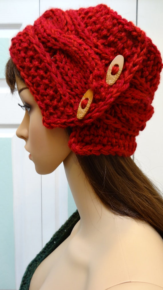 Hand Knitted Headbands Patterns : SCARF/HEADBAND Autumn red hand knitted in a cable by UptownKnits