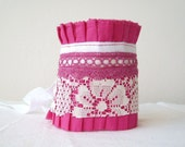 Fuchsia  Antique White Lace  Berry Crochet Lace Ruffle Cuff by OnePerfectDay