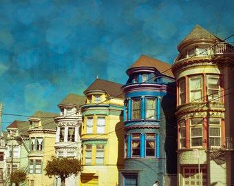 San Francisco, Travel Photo, Fine ArtPhotography, Row Houses, Bokeh, Architecture, California, Home Decor, Cityscape, Turquoise, Wall Art