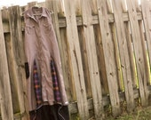 Eco Fashion Boho Bohemian Urban Outfitters maxi dress eco recycled funk  high low hem plaid inserts tattered frock
