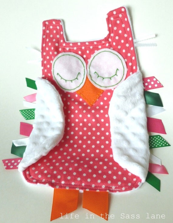Preppy Pink and Green OWL Ribbon Tag Blankie Polka Dots Flannel and Minky Blanket Lovey Lovie Baby Girl Gift