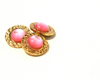 Pink Gold Vintage Buttons - 60s 70s Metal Buttons - New Old Stock Buttons - SIX Small Brass Light Magenta Buttons